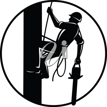 Retro woodcut style illustration of an arborist, lumberjack or tree surgeon with chainsaw climbing up a tree set inside circle on isolated background in black and white.