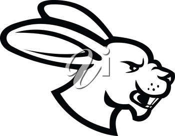 Black and white illustration of head of an angry hare, jackrabbit or rabbit viewed from side on isolated background in retro style.