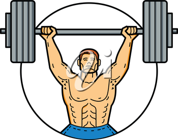 Mono line illustration of a weightlifter, athlete, personal trainer exercising lifting barbell weights viewed from front set inside circle done in monoline style.