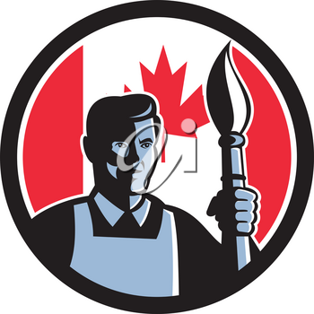 Icon retro style illustration of a Canadian fine artist or painter holding paint brush  with Canada maple leaf flag set inside circle on isolated background.