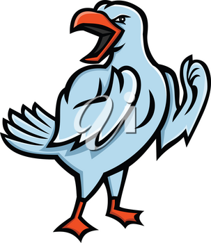 Mascot icon illustration of an angry yellow-legged gull or seagull, a medium to large seabird, preparing for a fight viewed from side on isolated background in retro style.