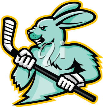 Mascot icon illustration of head of a hare, jackrabbit or rabbit ice hockey player holding an ice hockey stick viewed from side on isolated background in retro style.