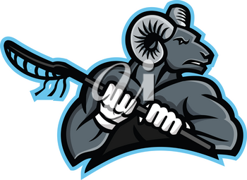 Mascot icon illustration of a bighorn ram, mountain goat or sheep holding a lacrosse stick viewed from side on isolated background in retro style.