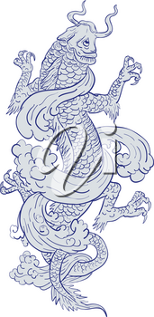 Tattoo drawing sketch style illustration of a koi carp fish transforming into a mythical dragon on isolated white background.