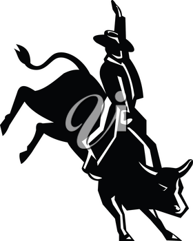 Retro style illustration of rodeo cowboy bull rider riding a red bull on isolated background.