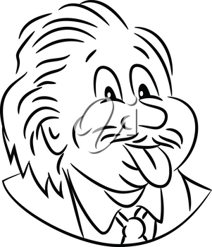 Black and White Cartoon style illustration of head of nerdy genius scientist Albert Einstein sticking his tongue out viewed from front on isolated white background.