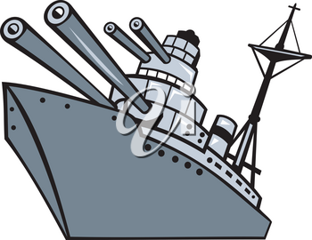 Cartoon style illustration of a world war two battleship, cruiser or destroyer with big guns or cannons viewed from low angle on isolated background.