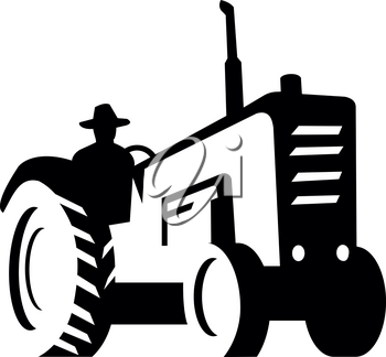 Illustration of an Organic farmer wearing hat driving vintage farm tractor viewed from low angle set on isolated white background done in retro Monochrome style.