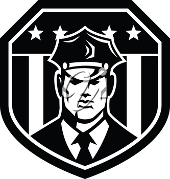 Illustration of an American police officer, policeman, security guard facing front set inside shield with USA Stars and Stripes flag inside shield badge on isolated white background.