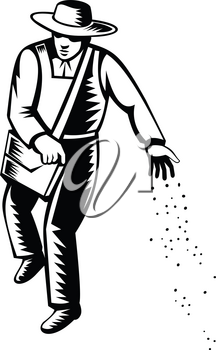 Illustration of an organic farmer, horticulturist, agriculturist or gardener sowing seed viewed from front done in retro black and white style on isolated background.