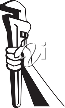 Black and white illustration of a plumber hand holding adjustable pipe wrench or monkey wrench viewed from the side on isolated white background done in retro style.