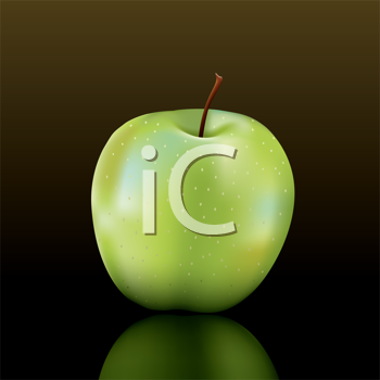 Royalty Free Clipart Image of a Green Apple