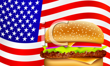 Royalty Free Clipart Image of an American Flag and a Burger