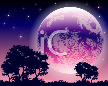 Royalty Free Clipart Image of a Night Sky With a Full Moon