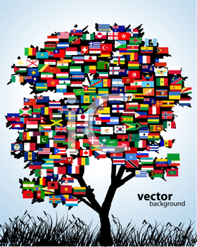 Royalty Free Clipart Image of World Flags on a Tree