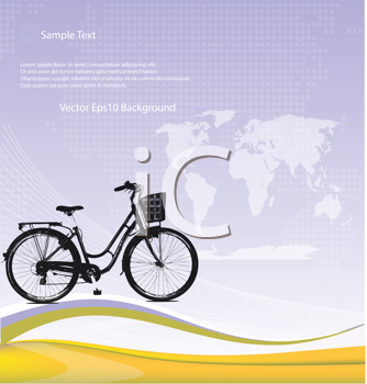 Royalty Free Clipart Image of a Bike on a Mauve Background With a Map