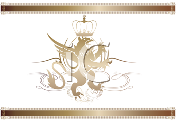 Royalty Free Clipart Image of a Griffon Coat of Arm