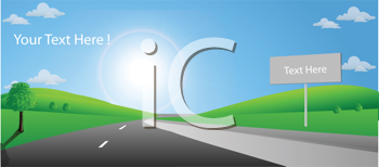 Royalty Free Clipart Image of a Country Road With Spaces for Text