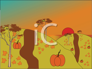 Royalty Free Clipart Image of a Field With Pumpkins and Leaves