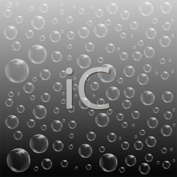 Royalty Free Clipart Image of Bubbles on Grey