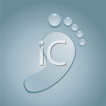 Royalty Free Clipart Image of a Water Drops in the Shape of a Footprint