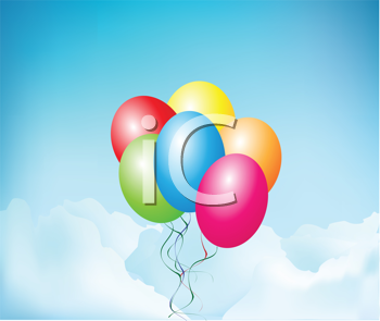 Royalty Free Clipart Image of Balloons Floating in the Sky