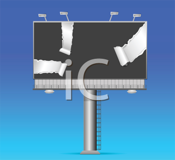 Royalty Free Clipart Image of a Billboard With Torn Paper