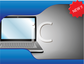 Royalty Free Clipart Image of a Laptop Sales Layout