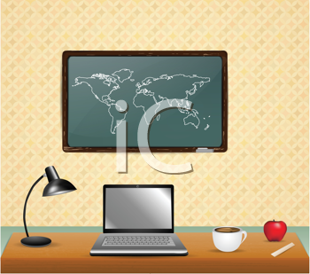 Royalty Free Clipart Image of an Office Setting