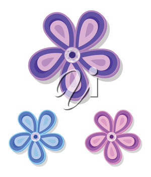 Set of Three Simple Decorative Flowers purple, pink, blue