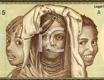 Royalty Free Photo of African girls on 1 Nakfa banknote from Eritrea