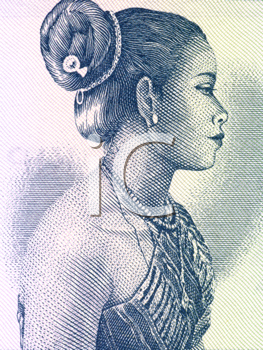 Royalty Free Photo of a Beautiful Woman on 10 Kip 1962 Banknote from Laos
