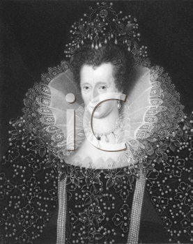 Royalty Free Photo of Elizabeth I (1533-1603) on engraving from the 1800s. Queen of England and Queen of Ireland 1558-1603. Engraved by W. Holl and published in London by Charles Knight, Ludgate East.