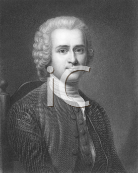 Royalty Free Photo of Jean-Jacques Rousseau (1712-1778) on engraving from the 1800s. Major Genevois philosopher, writer and composer. Engraved by R.Hart and published in London by Charles Knight, Ludg