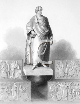 Royalty Free Photo of Johann Wolfgang von Goethe (1749-1832) monument in Frankfurt on engraving from the 1800s. German writer and polymath
