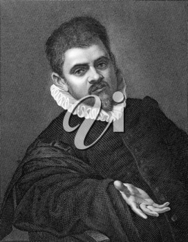 Agostino Carracci (or Caracci) (1557-1602) on copper engraving from 1841. Italian painter and printmaker. Engraved by G.Rivera from a drawing by G.Marrubini after a self portait by Carracci.