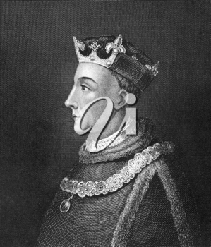 Henry V of England (1386-1422) on engraving from 1830. King of England during 1413-1422. Published in London by Thomas Kelly.