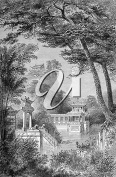 The Imperial Garden of China on engraving from 1871.