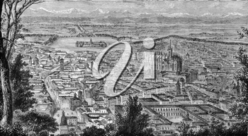 General view of Milan, Italy on engraving from 1800s.