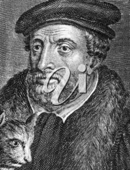 Richard Whittington (1354-1423) on engraving from 1784. Medieval merchant and politician.  Engraved by Benoist.
