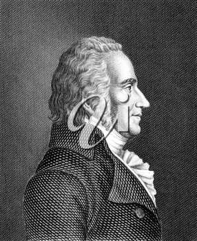 Friedrich von Matthisson (1761-1831) on engraving from 1859. German poet. Engraved by unknown artist and published in Meyers Konversations-Lexikon, Germany,1859.