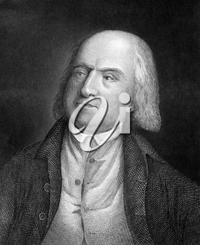 Jeremy Bentham (1748-1832) on engraving from 1859. English philosopher, jurist and social reformer. Engraved by unknown artist and published in Meyers Konversations-Lexikon, Germany,1859.