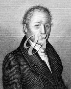 Johann Adam von Itzstein (1775-1855) on engraving from 1859. German politician. Engraved by unknown artist and published in Meyers Konversations-Lexikon, Germany,1859.