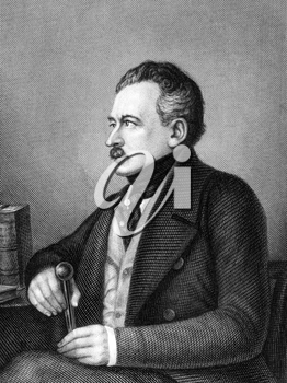 Joseph von Radowitz (1797-1853) on engraving from 1859. Prussian statesman and general best known for his proposal to unify Germany under Prussian leadership. Engraved by Metzeroth and published in Me