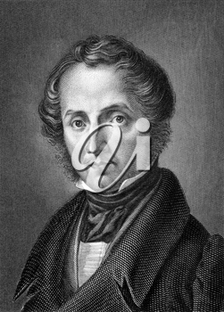 Justus von Liebig (1803-1873) on engraving from 1859.  German chemist. Engraved by C.Barth and published in Meyers Konversations-Lexikon, Germany,1859.