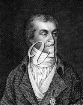 Karl Christian Ernst von Bentzel-Sternau (1767-1849) on engraving from 1859. German politician, publisher and writer. Engraved by Nordheim and published in Meyers Konversations-Lexikon, Germany,1859.