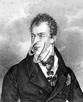 Klemens von Metternich (1773-1859) on engraving from 1859. German-born Austrian politician and statesman. Engraved by unknown artist and published in Meyers Konversations-Lexikon, Germany,1859.