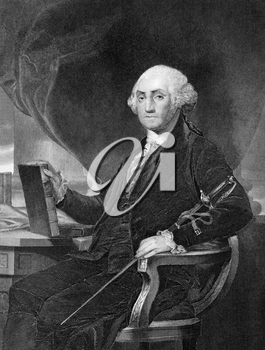 George Washington (1731-1799) on engraving from 1859. First President of the U.S.A. during 1789-1797  and commander of the Continental Army in the American Revolutionary War during 1775-1783. Consider