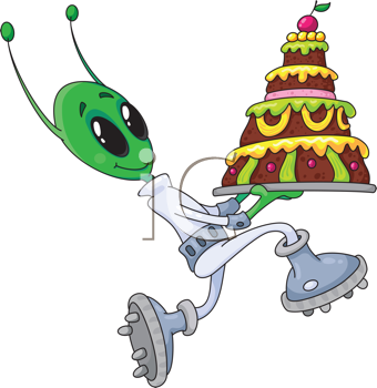 Royalty Free Clipart Image of an Alien With a Cake