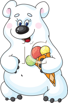 Royalty Free Clipart Image of a Bear With an Ice-Cream Cone